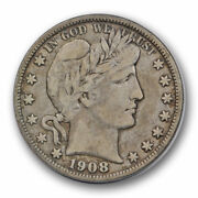 1908 O 50c Barber Half Dollar Very Fine To Extra Fine New Orleans Mint 8983