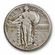 1928 S 25c Inverted Mm Fs-501 Standing Liberty Quarter Very Fine Xf 8155