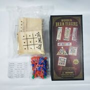 New 7 Wooden Brain Teasers Family Game Night Puzzles Tic Tac Toe Mind Magic Dice