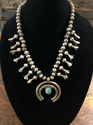 Vintage Navajo Sterling And Turquoise Squash Blossom Necklace