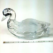 Crystal Glass Industries Duck Clear And Frosted Dish With Lid 24 Lead Germany R8