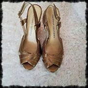 Chinese Laundry Sling Backs Gold Sz 6m Great Cond