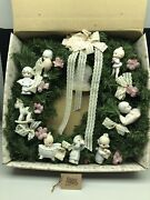 """1987 14"""" Precious Moments Christmas Wreath With 9 Ornaments"""