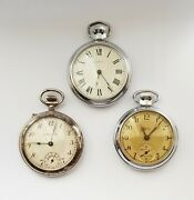 3 Vintage Branded Pocket Watches -swiss Empire Best Lever And Ingersol- Working