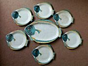 Vintage Burleigh Ware Fish Shaped Plates 6 Plates And 1 Platter