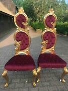New Italian Baroque Bordeaux Velvet And Gold Leaf Finish Chairs- A Pair