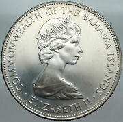 1971 Bahamas Huge Large Pirate Defeat Motto Vintage Silver 5 Dollars Coin I88026