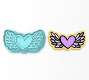 Heart With Wings Cookie Cutter And Stamp   Valentines Day Angel Fly Wing Feathers