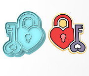 Heart Lock And Key Cookie Cutter And Stamp   Valentines Day Door Homeowner House