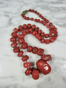 Huge Antique Chinese Red Mediterranean Coral Barrel Bead Necklace 25 1/2 124.7g
