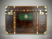 Vintage Leather Trunk .antique Travel Trunk Luggage. Steamer Trunk.