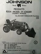 Johnson B204 Model 24 Front End Loader Lawn Garden Tractor Owner And Parts Manual