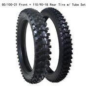 Front 80/100-21 And Rear 110/90-18 Tire Tube Off-road Mx Trail Tire Set Motocross