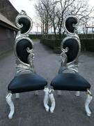 French Baroque Chairs In Black Leather - A Pair.