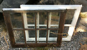 Lot Of 2 Wood Frame Windows 8 Pane 24 X 19 Vintage Wooden Sash Picture Glass