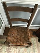 Antique Pair Rustic Ladderback Chairs With Weave Seats Sturdy Solid Wood
