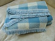 Nos 1980s Nice Vintage Farmhouse Tablecloth Blue And Ivory Checked Fringed 60x84