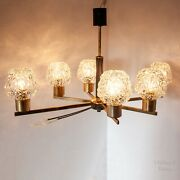 Vintage Mcm Gold And Black 6 Arm Ceiling Light Fixture With Faceted Glass Shades