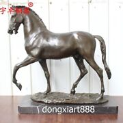 53 Cm Pure Bronze Chinese Zodiac Animal Wealth Fengshui Horse Equine Sculpture