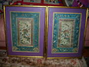 Sale Exquisite Pair Of Antique Chinese Silk Textiles Embroideries Tapestries