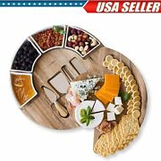 13 Inch Cheese Cutting Board Set Round Wood Charcuterie Board Cheese Serving Us