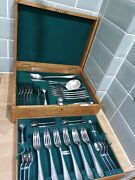 Antique 39 Piece Mappin And Webb Silver Princes Plate Canteen Of Cutlery