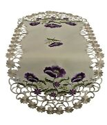 Doily Boutique Table Runner, Doily, Mantel Scarf With Purple Poppy Flowers