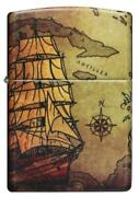 Zippo Windproof Lighter, Pirate Ship And Old World Map Design, 49355, New In Box