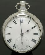 Rare Antique Stirling Silver Rack Lever Pocket Watch By Robert Roskill - 1832