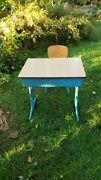 Antique Child's School Desk And Chair Wood And Metal American Seating Co.