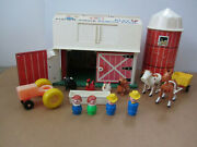 Vintage Fisher-price 915 Family Farm Barn And Silo W/animals - Used