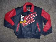 Men's Vtg Disney Mickey Mouse Leather Bomber Jacket Medium Excellent Condition