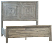 87 Alberto Queen Bed Modern Reclaimed Acacia Wood Square Detail Headboard