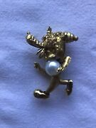 """""""goofy"""" Dog Pin With Rubies, Cultured Pearl In 14k Yellow Gold- Custom Made"""