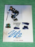 2009-10 The Cup Victor Hedman Auto 3clr Patch Rc 34/77 Rookie Honorable Numbers