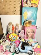 Huge Barbie 70s-2000s Lot Box Of Clothes Case Scooter Dolls Shoes