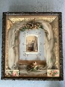 Antique Victorian Mourning Wedding Custom Shadow Box Wood Carved Gilt Frame Wow