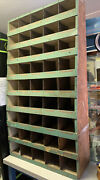 Large 54 X 30 X 11 Vintage Wood Hardware Store Parts Cabinet W Green Paint