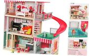 Dollhouse With Furniture And Dolls Wooden Doll House For Little Girls 3 4 5