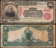 Rare Red Seal 1902 10 Meridian Ms Mississippi National Banknote Ch. 2957