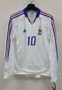 2004-05 France Away No.10 Zidane L/s Player Issue Match Germany Shirt Jersey