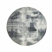 10and0392x10and0392 Charcoal Black Hand Knotted Abstract Wool And Silk Round Rug R62033