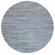 12and039x12and039 Silver-blue Hand Loomed Variegated Textured Design Wool Rug R62099