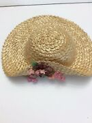 Vintage Antique Doll Hat Baby Patty Playpal French German Bisque Straw Big