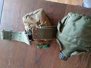 Vintage Us Army Gi Vietnam Era L Equipment Belt Large With 2 Canteens-1968