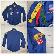 Cub Scouts Boy Scout Of America Vintage Shirt W/ Webelos Ribbon Activities Patch