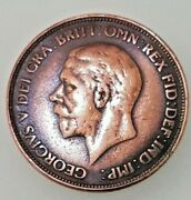 1929 George V One Penny Bronze In Excellent Condition Rare