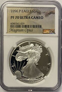 1996-p Silver Eagle Ngc Pf70 Ultra Cameo- Magnum Opus