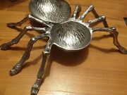 Halloween Large Silver Metal Spider Legs Bowls Tray Dish Haunted Decor