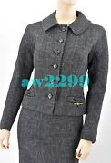 Louis Vuitton Nwt 2 Pc Rare To Find Logo Jacket Skirt Suit 36 38 Black Gray New